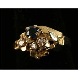 Gold Nugget Ring with Sapphire & Diamonds