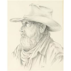 Original Pencil Drawing of Cowboy