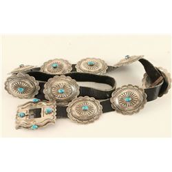 Traditional Sterling & Turquoise Concho Belt