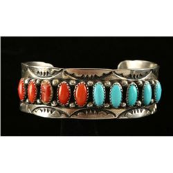Sterling and Turquoise & Coral Cuff