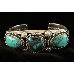 Native American Silver & Turquoise Cuff Bracelet