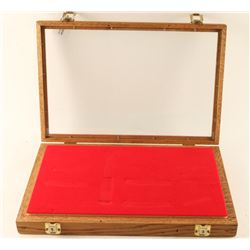 Oak Red Velvet Lined Display Case