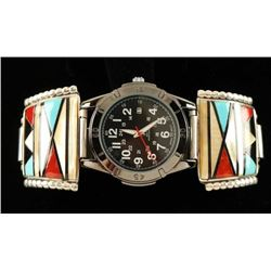 Old Pawn Native American Inlaid Mens Watch