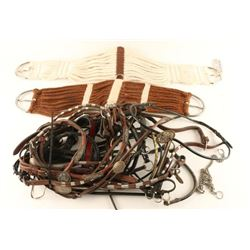 Large Lot of Halters & 2 Cinches