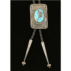 Vintage Native American Turquoise & Sterling Bolo