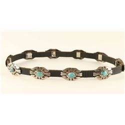 Leather Hatband with Sterling & Turquoise Conchos