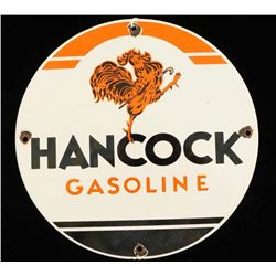 Vintage Porcelain Hancock Gasoline Pump Sign