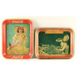 Lot of 2 Coca Cola Advertising Trays