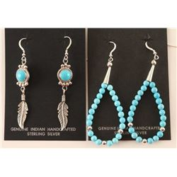 Two Pairs Turquoise & Sterling Earrings