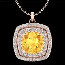1.77 CTW Citrine & Micro Pave VS/SI Diamond Halo Necklace 14K Rose Gold - REF-50H2W - 20451