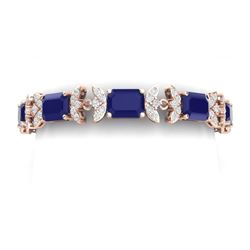 38.13 CTW Royalty Sapphire & VS Diamond Bracelet 18K Rose Gold - REF-454X5T - 39397