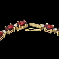 33 CTW Garnet & VS/SI Diamond Certified Eternity Tennis Necklace 10K Yellow Gold - REF-149W3H - 2159