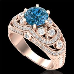 2 CTW Intense Blue Diamond Solitaire Engagement Art Deco Ring 18K Rose Gold - REF-309W3H - 37979