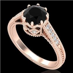 1.25 CTW Fancy Black Diamond Solitaire Engagement Art Deco Ring 18K Rose Gold - REF-100R2K - 37521