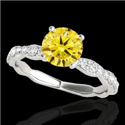 1.4 CTW Certified Si Fancy Intense Yellow Diamond Solitaire Ring 10K White Gold - REF-156M4F - 34878