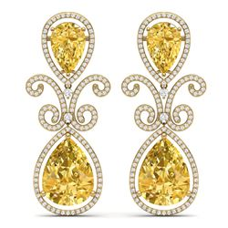 27.31 CTW Royalty Canary Citrine & VS Diamond Earrings 18K Yellow Gold - REF-301R8K - 39554