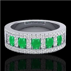2.34 CTW Emerald & Micro Pave VS/SI Diamond Designer Ring 10K White Gold - REF-67M3F - 20824