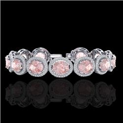 23 CTW Morganite & Micro Pave VS/SI Diamond Certified Bracelet 10K White Gold - REF-527M3F - 22691