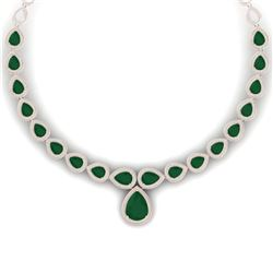 51.41 CTW Royalty Emerald & VS Diamond Necklace 18K Rose Gold - REF-1018T2X - 39421