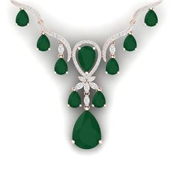 37.14 CTW Royalty Emerald & VS Diamond Necklace 18K Rose Gold - REF-763K6R - 38590
