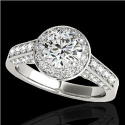 2.56 CTW H-SI/I Certified Diamond Solitaire Halo Ring 10K White Gold - REF-392M8F - 34051
