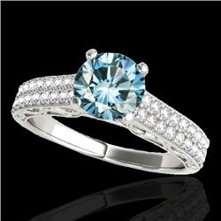 1.41 CTW SI Certified Blue Diamond Solitaire Antique Ring 10K White Gold - REF-176H4W - 34698