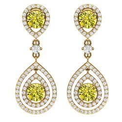 3.9 CTW Fancy Yellow SI Diamond Earrings 18K Yellow Gold - REF-336M4F - 39119