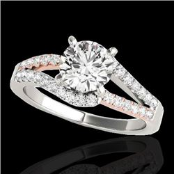 1.65 CTW H-SI/I Certified Diamond Solitaire Ring Two Tone 10K White & Rose Gold - REF-218N2Y - 35301