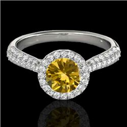 1.4 CTW Certified Si Fancy Intense Yellow Diamond Solitaire Halo Ring 10K White Gold - REF-170T4X -