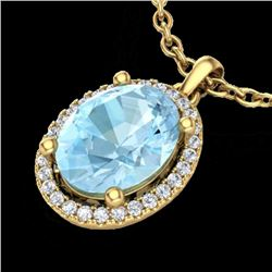 2.50 CTW Aquamarine & Micro VS/SI Diamond Certified Necklace Halo 18K Yellow Gold - REF-63N6Y - 2107