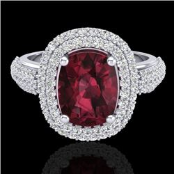 3.10 CTW Garnet & Micro Pave VS/SI Diamond Certified Halo Ring 10K White Gold - REF-81M8F - 20712
