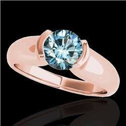 1 CTW SI Certified Fancy Blue Diamond Solitaire Ring 10K Rose Gold - REF-172H8W - 35179
