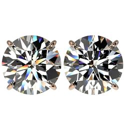 5 CTW Certified G-Si Quality Diamond Solitaire Stud Earrings 10K Rose Gold - REF-1663T3X - 33143