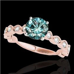 1.5 CTW SI Certified Fancy Blue Diamond Solitaire Ring 10K Rose Gold - REF-163H6W - 34886