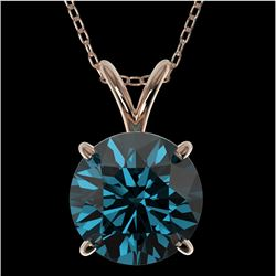2 CTW Certified Intense Blue SI Diamond Solitaire Necklace 10K Rose Gold - REF-416H2W - 33237