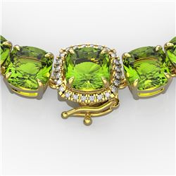 100 CTW Peridot & VS/SI Diamond Solitaire Necklace 14K Yellow Gold - REF-528N9Y - 23355