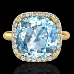 6 CTW Sky Blue Topaz & Micro Pave Halo VS/SI Diamond Ring 18K Yellow Gold - REF-56H4W - 23108