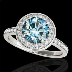 1.5 CTW SI Certified Fancy Blue Diamond Solitaire Halo Ring 10K White Gold - REF-129Y5N - 34383