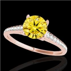 1.5 CTW Certified Si Fancy Intense Yellow Diamond Solitaire Ring 10K Rose Gold - REF-214Y2N - 34852
