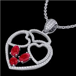 3 CTW Ruby & Micro Pave Designer Inspired Heart Necklace 14K White Gold - REF-117R8K - 22541
