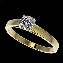0.53 CTW Certified H-SI/I Quality Diamond Solitaire Engagement Ring 10K Yellow Gold - REF-51M3F - 36