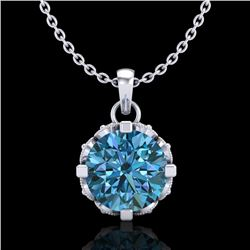 1.14 CTW Fancy Intense Blue Diamond Solitaire Art Deco Necklace 18K White Gold - REF-125F5M - 37376