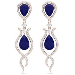 16.57 CTW Royalty Sapphire & VS Diamond Earrings 18K Rose Gold - REF-327T3X - 39517