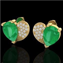 2.50 CTW Emerald & Micro Pave VS/SI Diamond Certified Earrings 10K Yellow Gold - REF-33T8X - 20073