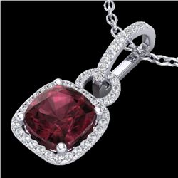 3.50 CTW Garnet & Micro VS/SI Diamond Certified Necklace 18K White Gold - REF-63M3F - 22983