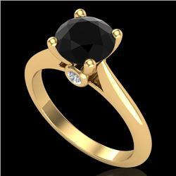 1.6 CTW Fancy Black Diamond Solitaire Engagement Art Deco Ring 18K Yellow Gold - REF-100T2X - 38215