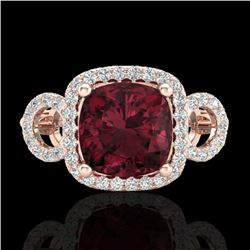 3.75 CTW Garnet & Micro VS/SI Diamond Certified Ring 14K Rose Gold - REF-54H9W - 23004