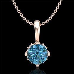 0.62 CTW Fancy Intense Blue Diamond Solitaire Art Deco Necklace 18K Rose Gold - REF-67T3X - 37797