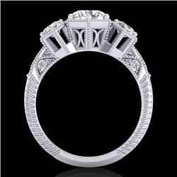 1.66 CTW VS/SI Diamond Solitaire Art Deco 3 Stone Ring 18K White Gold - REF-445F5M - 37223