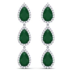 27.06 CTW Royalty Emerald & VS Diamond Earrings 18K White Gold - REF-400Y2N - 38841